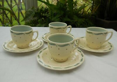 Vintage Susie Cooper Productions Spot & Leaf Coffee Cups & Saucers x 4