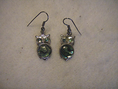 bling sterling silver plated abalone paua shell owl bird dangle ear ring jewelry