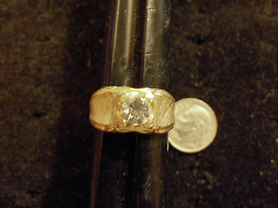 bling gold plated cubic CZ solitaire men`s ICED OUT ring hip hop JEWELRY siz 8.5