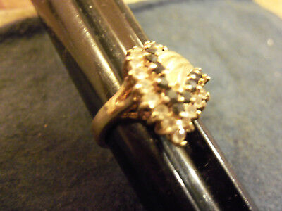 bling gold plated blue clear cubic cz cluster COCKTAIL fashion ring hip hop sz 8