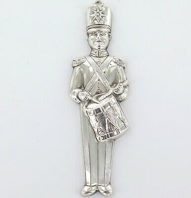Near Mint Gorham Sterling Silver Christmas Tree Ornament, Large Soldier Drummer.