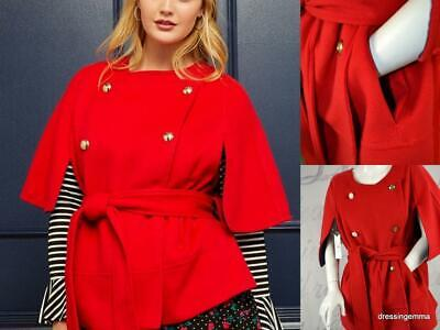 38cd4cacbb9 New Reese Witherspoon Draper James plus size red cape short belted coat  22 24