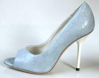 1e1eb60756f new  650 GUCCI sky blue GG logo leather open toe shoes heels - gorgeous sexy