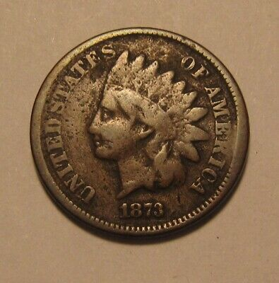 1873 Indian Head Cent Penny - Very Good Details - 39FR