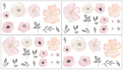 Pink Grey Watercolor Floral Flower Wall Decal Stickers Art Decor by Sweet Jojo