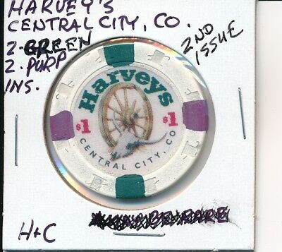 $1 CASINO CHIP TOKEN HARVEY'S CENTRAL CITY CO 2nd ISSUE H&C 2 GRN 2 PURPLE INSER
