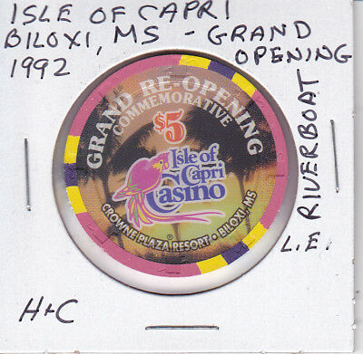 $5 Casino Chip Isle Of Capri Biloxi, Ms Riverboat H&C L.e. Grand Opening 1992