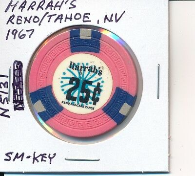 $.25 Casino Chip Harrah's Reno/Tahoe, Nv 1967 Sm-Key Mold #N-5131 Very Nice