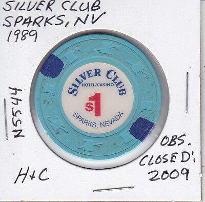 $1 Casino Chip -1989 Silver Club, Sparks, Nv #N5544 H&C Obsolete Closed: 2009