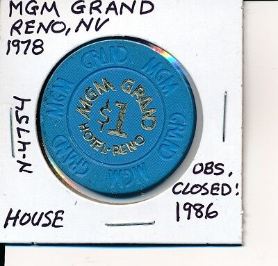 $1 Casino Chip Token Mgm Grand Reno Nv 1978 House N4754 Obsolete Closed 1986