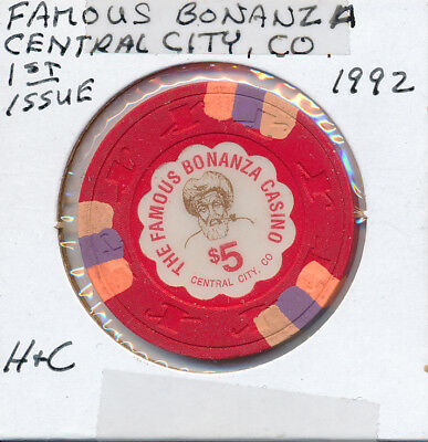 $5 CASINO CHIP TOKEN FAMOUS BONANZA CENTRAL CITY CO 1992 1st ISS. GAMBLING GAMIN