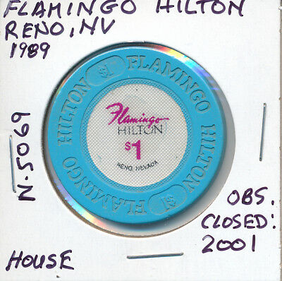 $1 Casino Chip Token Flamingo Hilton, Reno Nv 1989 N5069 House Obs. Closed 2001