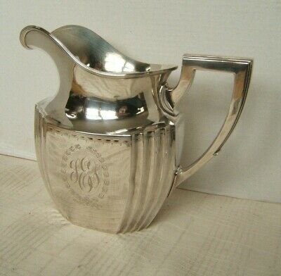 Durgin Sterling Silver Art Deco Water Pitcher 830.1 Grams Thick Walled Vgc