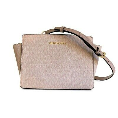 a62aafdf2829 Michael Kors Selma Medium Messenger ~ Fawn & Ballet Signature Purse Bag New/ NWT