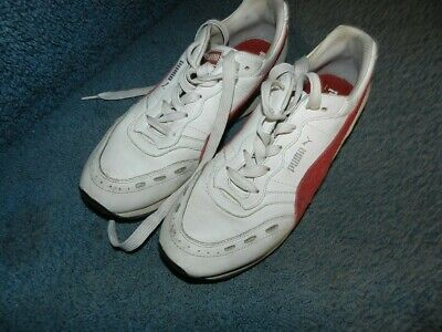 VINTAGE PUMA BASKET White Leather Shoes Red stripe Size US 10.5
