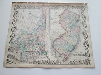 1871 ANTIQUE MAP OF MARYLAND, DELAWARE, NEW JERSEY,   by S. AUGUSTUS MITCHELL