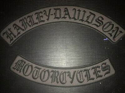 "Harley Davidson Gothic ""Olde English"" Rockers Patches Set Large Biker"