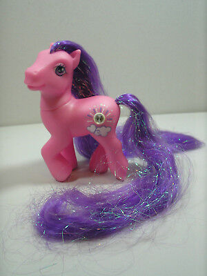My Little Pony MLP G3 2005 Super Long Purple Hair Silver Lining Pink Play Pony