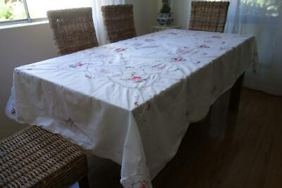 Vintage Pink Roses Hand Embroidery White Cotton Banquet Table Cloth