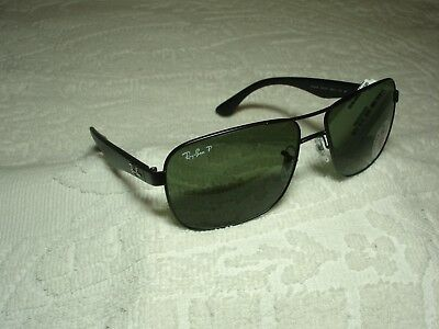 bc0a4a691a New Authentic RAY-BAN RB3516 006 9A Matte Black Sunglasses Green POLARIZED  Lens