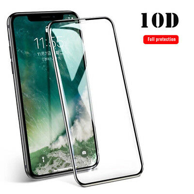 For IPhone X XS MAX XR 8 7 6 10D Full Cover Tempered Glass Screen Protector 9H