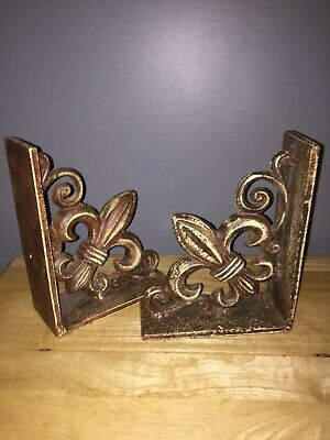 SPI Sanfrancisco Fleur de Lis Heavy Bookend Pair Metal Lovely!