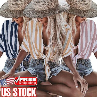 Women's Short Sleeve Tie Front Cropped Tops Striped Summer Casual Blouse T-Shirt
