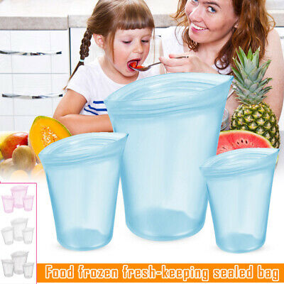 3 Pcs Reusable Silicone Food Storage Bags Zip Leakproof Containers Stand Up Bag