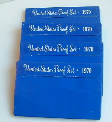 1970 Us Mint Set Of 4 Proof Coin Sets  Sets In Original Mailer Box