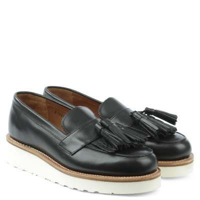 cfdf64715f5 Grenson Clara Black Platform White Wedge Loafers Tassels New Box Uk 8 8.5  Us 11