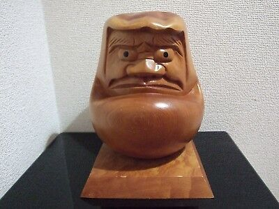 H 8.7''(22 cm) Japanese wood Daruma doll/Vintage Dharma/handcraft/Good Luck