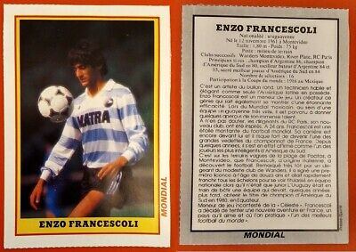 FOOTBALL RARE PHOTO - FICHE MONDIAL de 1986 ENZO FRANCESCOLI RC PARIS URUGUAY