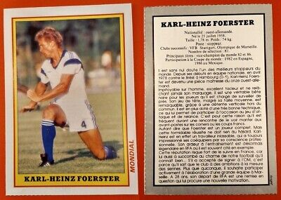 FOOTBALL RARE PHOTO - FICHE MONDIAL de 1986 KARL-HEINZ FOERSTER OM MARSEILLE RFA