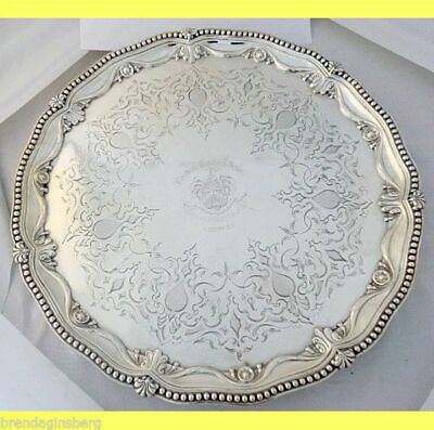 Victorian Salver Sterling Silver Tray J Angell London Armorial Antique (5285)