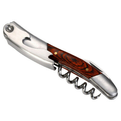 Professional Wood Handle Waiters Corkscrew Double Hinged Wine Bottle Opener Tool
