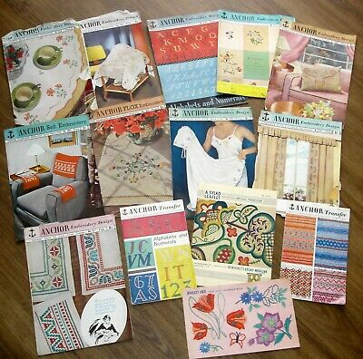 Job Lot 14 Vintage Anchor Hand Embroidery Pattern Booklet With Transfers Inside