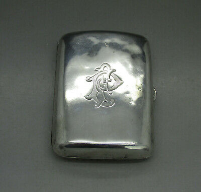 ANTIQUE GOOD QUALITY SOLID STERLING SILVER CIGARETTE CASE 63g BIRMINGHAM 1897