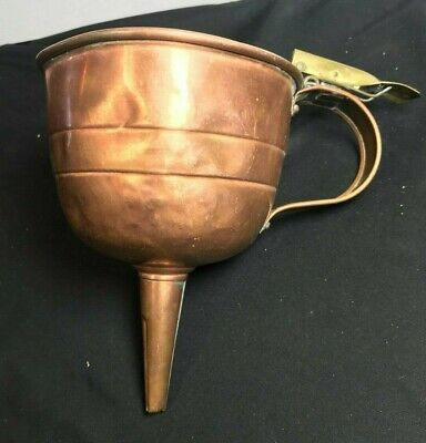 Antique Copper Filter Trigger Funnel Brewing Beer Wine Oil Brass Spout Old (A010