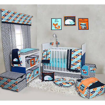 Bacati Liam Aztec Aqua Orange Navy 10 Piece Nursery In A