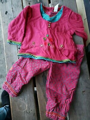 Catimini Pink 2 PC Set/Outfit Top & Pants W/Flowers Girls/Infants Size 18 Months