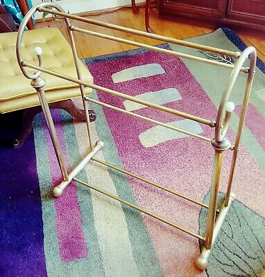 Vintage Brass Quilt Rack Blanket Stand Valet Freestanding Towel Holder