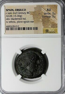 Spain Iberia Obulco AE28 2nd Century BC NGC AU Ancient Greek Bronze Coin