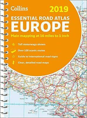 2019 Collins Essential Road Atlas Europe by Collins Maps, NEW Book, FREE & Fast