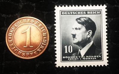 Authentic German WW2 Black Stamp and Antique German Coin