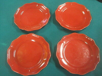 "Better Homes and Gardens RED Stoneware Set of 4 Dinner Plates 10 1/2"" Scalloped"