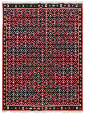 "RRA 9x12 (9'0""x11'6"") Romanian Kilim Diamond design Rose & Black Rug 13831"