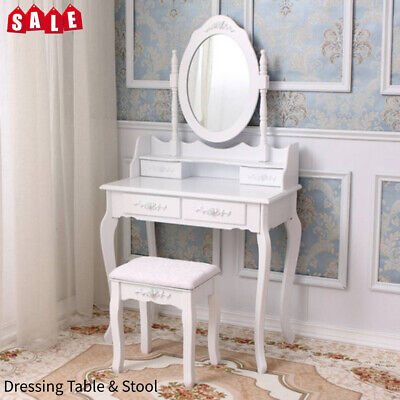 57cfa1df9e3e3 Vanity Makeup Dressing Table Set w Stool 2 Drawer  Flip Top Mirror Writing  Desk