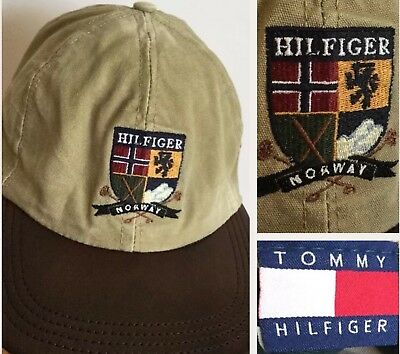 98f53410 Vintage Tommy Hilfiger Hat NORWAY Baseball Cap Leather Spell Out Lotus Retro  90s