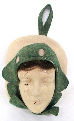 Large Hanging Felt Pin Cushion With Celluloid Dutch Girl Face