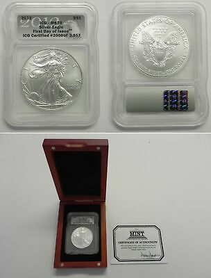 2012 Silver American Eagle ICG MS70 First Day Of Issue - In Wooden Box - #2006